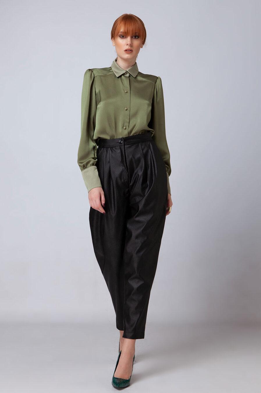 Ψηλόμεσο eco leather παντελόνι