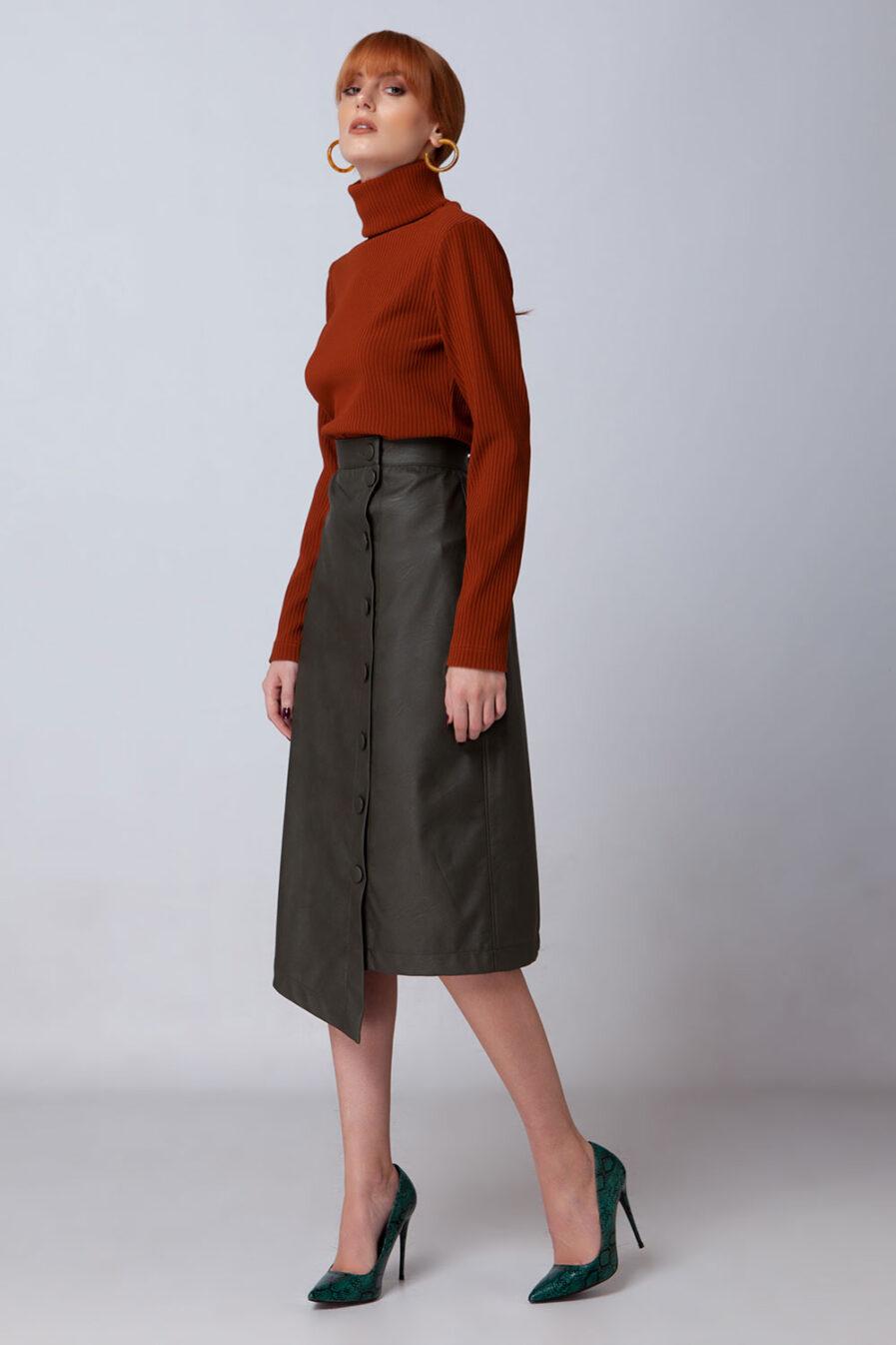 : Ασύμμετρη ψηλόμεση eco leather φούστα